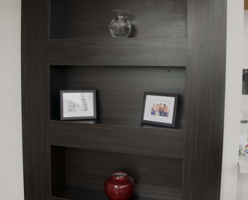Dark laminate panel wall display unit for Allambie