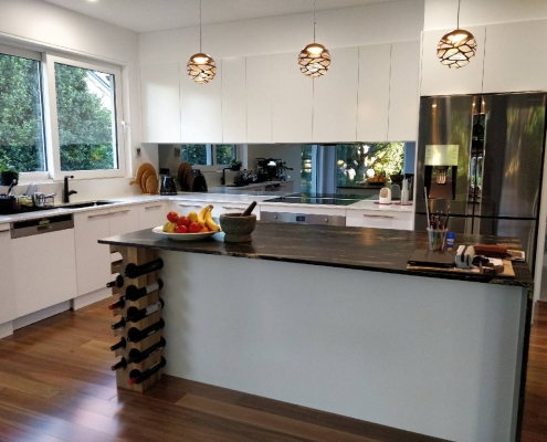 Leather-finish-island-kitchen-bench-with-wine-rack-Pymble