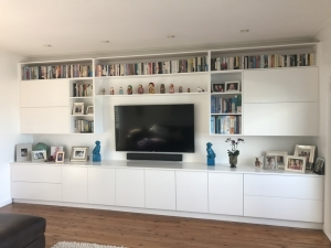 Storage and bookshelves in polyurethane with lift-up overhead doors Brookvale
