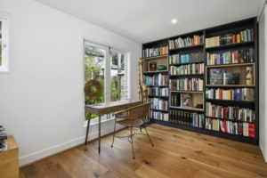 bespoke black bookcase with custom beech inserts